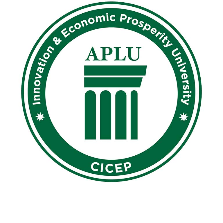 A seal designating an innovation and economic prosperity university.