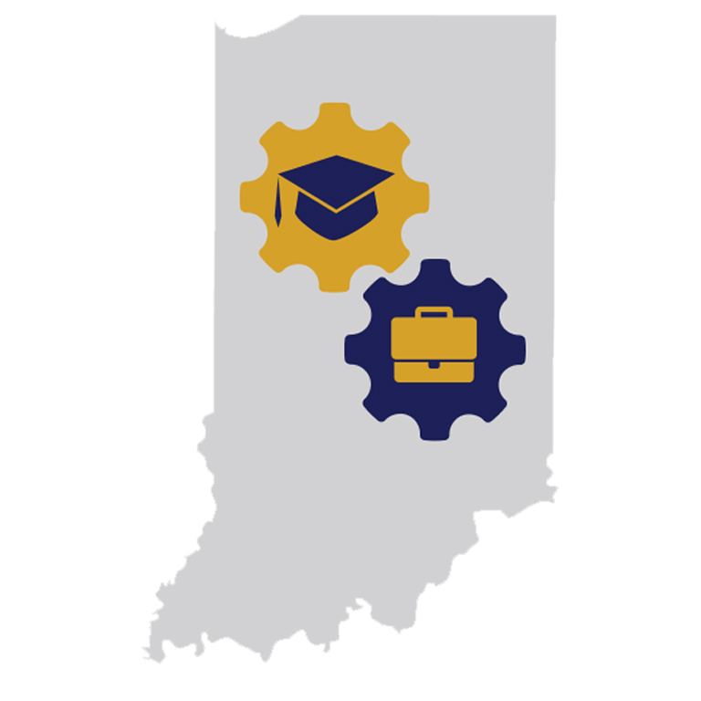 The Education-to-Employment Convergence logo shows the state of Indiana with graduation cap and briefcase icons.