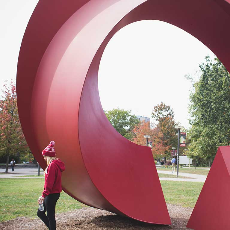 The large, red Calder sculpture outside the Eskenazi Museum of Art at IU Bloomington.